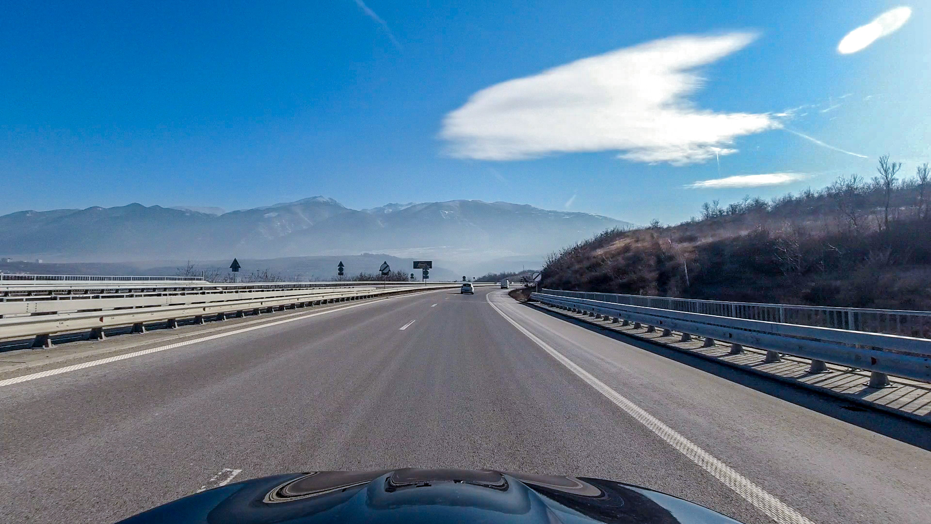 Driving to the Bulgarian mountains in the winter
