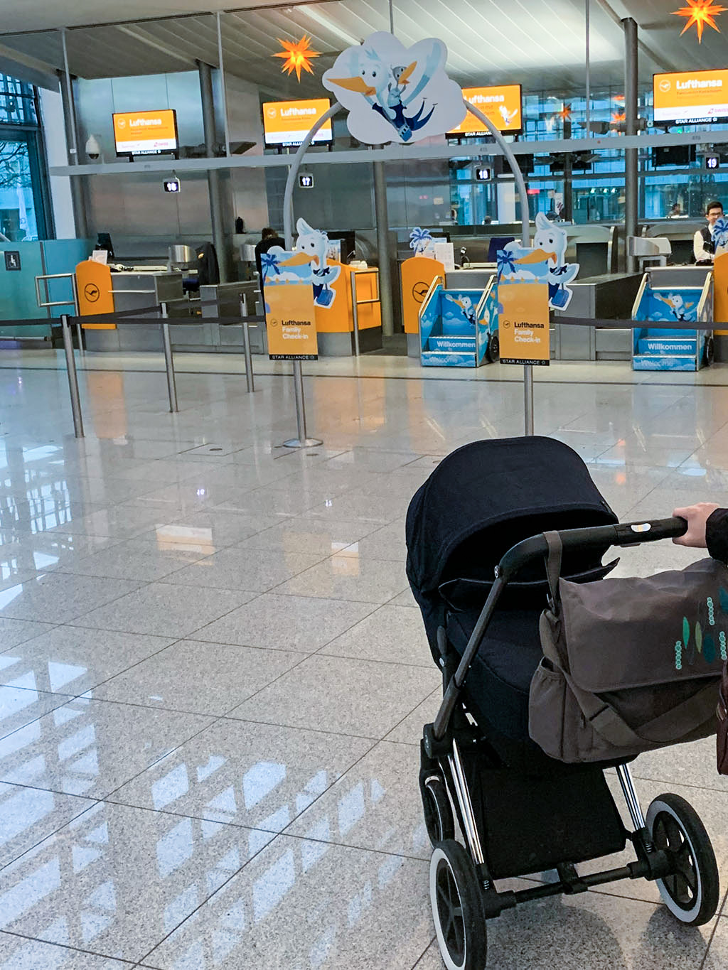 Family check-in at Munich airport