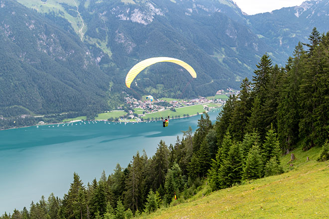 Paraglider above the Achensee